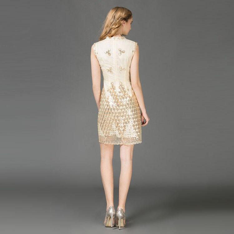 Europe mode 2017 été nouvelle Paillette perles imprimer Silm sans manches o-cou a-ligne élégante au-dessus du genou Mini robe femmes