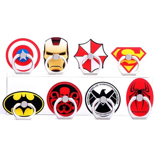 Лидер продаж универсальный металла милый мобильного телефона держатель кольца Cool мультфильм Супермен Капитан Америка Железный человек держатель