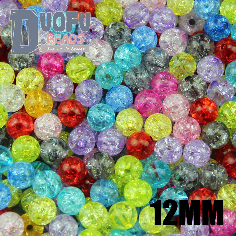 Top quality 50PCs Mixed 12mm Colorful plain color Crackle Acrylic crack round beads Ball Broken Crack