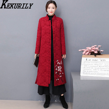 KEKURILY cotton linen thick warm winter women's jacket red parkas elegant vintage Chinese style coat floral long sleeve clothing
