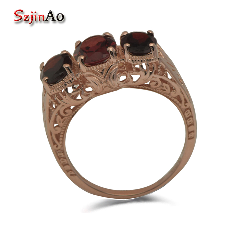 Szjinao Unique custom western-style delicate and sweet princess rose gold pomegranate stone ring hollow out 925 silver punk style solid color hollow out ring for women