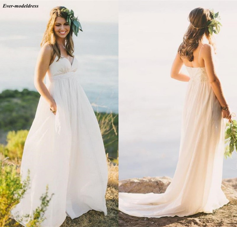 Simple Spaghetti Tulle A Line Country Wedding Dresses