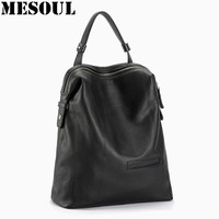 Black Fashion Backpack Women Backpacks Real Leather School Bags For Girls Travel Shoulder Bag Female High