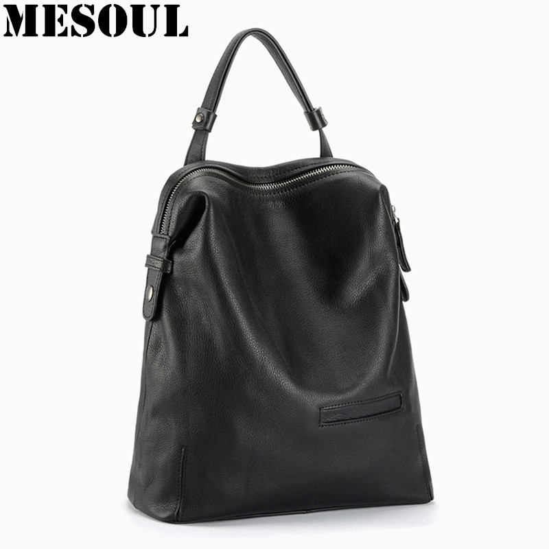 Black Fashion Backpack Women Backpacks Real Leather School Bags For Girls Travel Shoulder Bag Female High Quality Daily Daypacks faux leather fashion women backpacks vintage casual daypacks shoulder bags travel bag free shipping