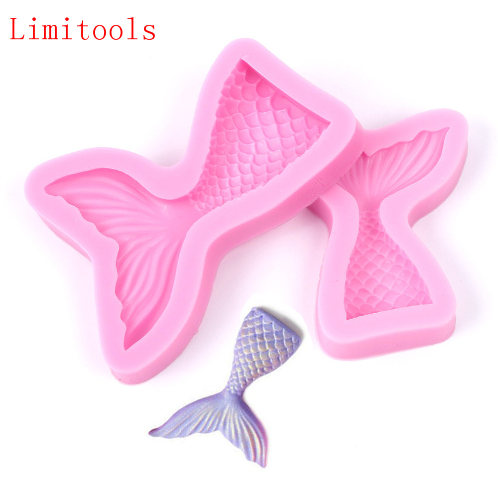 LIMITOOLS Christening Mermaid Tail Silicone Mold Fondant Cupcake Cake Decorating Baking Tools Handmade Soap Mold Fish Fork Tail