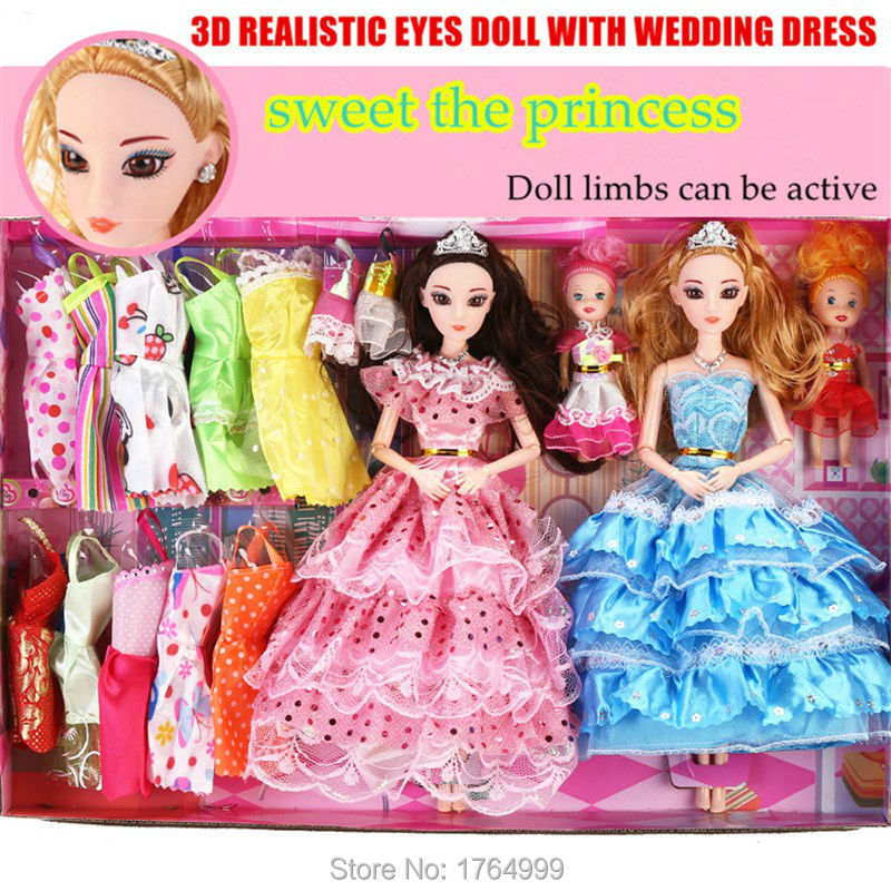 2016 New Favorite Princess Doll Fashion Party Wedding Dress Moveable Joint Body Classic Toys Xmas Best Gift for Girls Friends