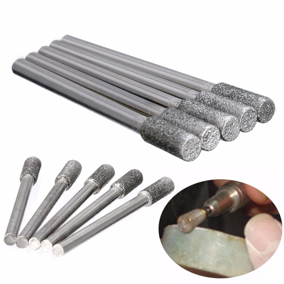 5pcs 4mm Diamond Grinding Burr Drill Bits Grinding Rod Mill For Rotary Tool Electric Grinder Pneumatic Engraving Pen Machine