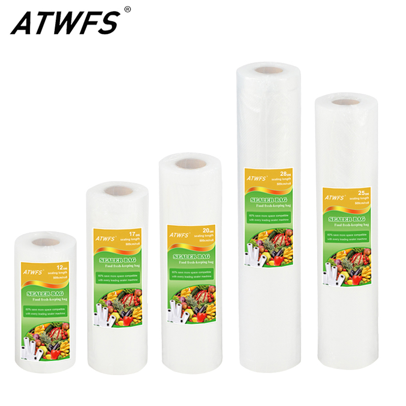 ATWFS Vacuum Bag Food Vacuum Sealer Packing Bag Vacuum Packer Storage Bags Food Fresh Long Keeping 12/17/20/25/28cm*500cm 1 Roll 2018 children clothing boys sets girls sport suit windbreake outfits suits costumes for kids clothes sets cartoon boys clothes