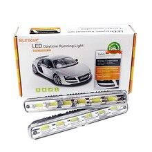 2 шт./компл. sunkia супер яркий автомобиль светодиод DRL COB Водонепроницаемый туман авто светодиодные лампы дневного Бег свет с на/ от Функция