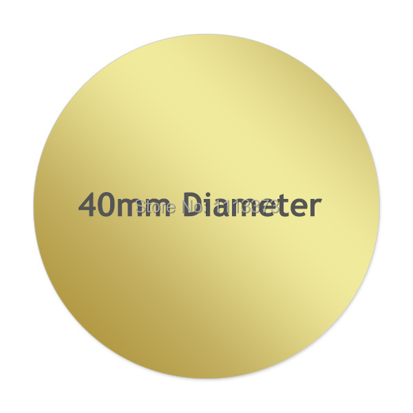 40mm diameter round gold stickers labels fluorescent neon silver krfat white color options