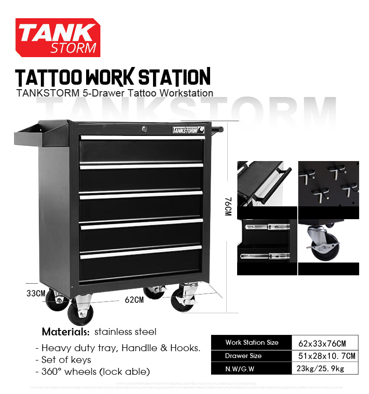 TANKSTORM 5-Drawer Tattoo Workstation