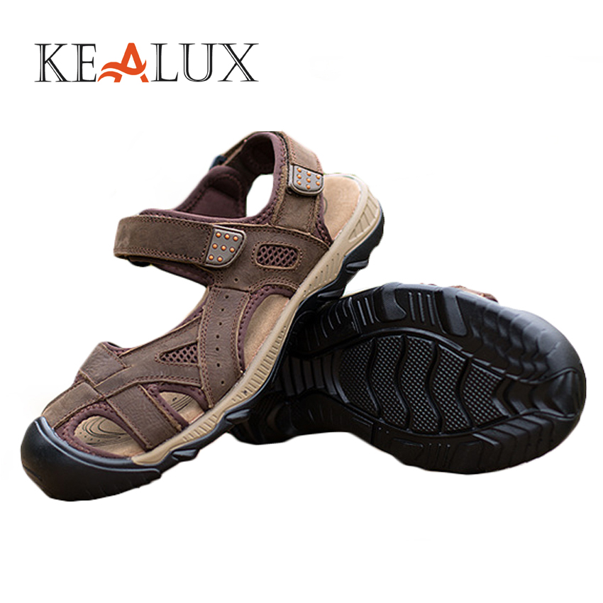 KEALUX Men Leisure Sandals Shoes Genuine Leather Breathable Summer Spring Cow Leather Casual Sewing Solid Sandals