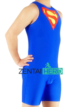 Free Shipping DHL Sleeveless Sexy Men's Superman Wrestling Singlet Blue Lycra Spandex Catsuit Super Man Logo Leotard SPH133-4