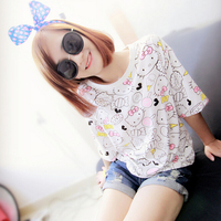 Fashion Women's Summer T-Shirt Clothes Shirt O-neck Hello Kitty Cartoon Printed Top Free Shipping