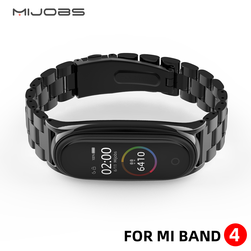 Stainless-Steel Bracelet Mi-Band Metal 4-Strap Xiaomi for 3-strap/Compatible/Bracelet/..