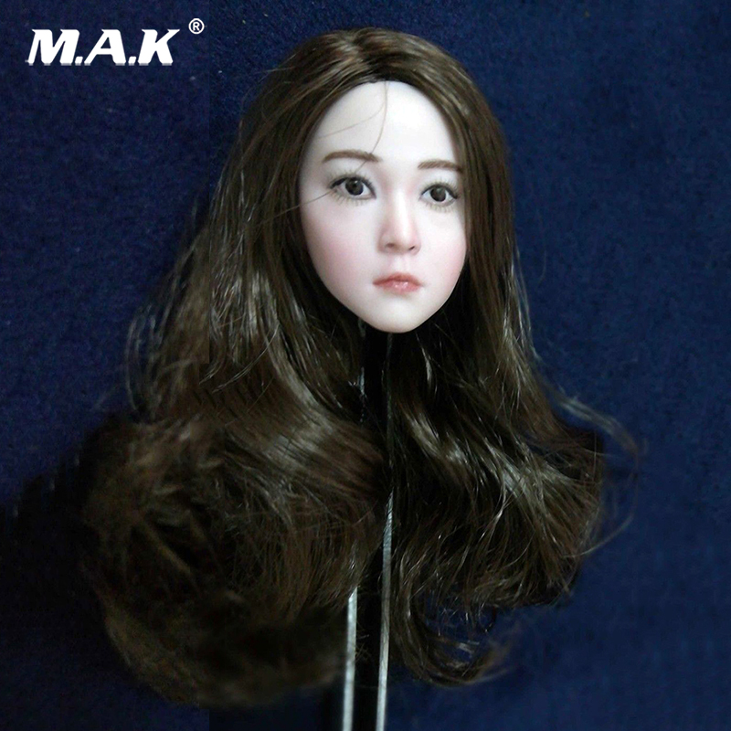 1//6 Scale Female Long Curls Hair Asian Head Caving Fit 12/'/' Pale Body