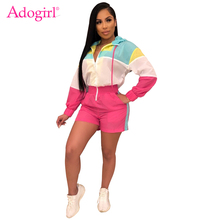 Adogirl Color Patchwork Women Hooded Jumpsuit Sexy Zipper V Neck Long Sleeve Loose Casual Romper Fashion Playsuits Sportswear