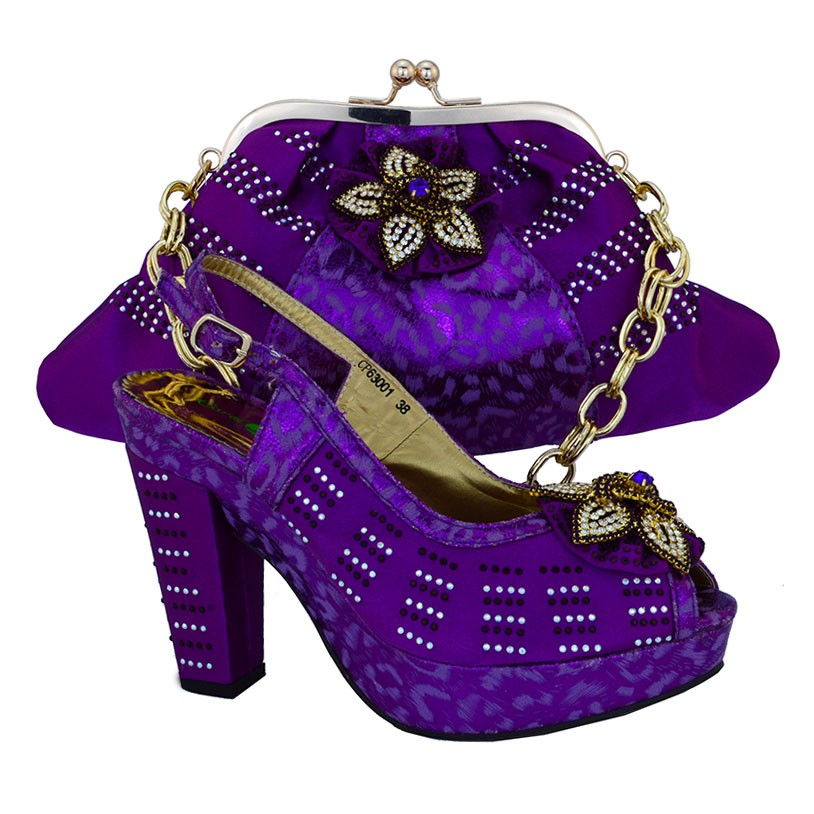 ФОТО 2017 New Arrival Free Shipping Fashion Italian Shoes With Matching Bags Set For Wedding African Shoes And Bag Set CP63001 Purple