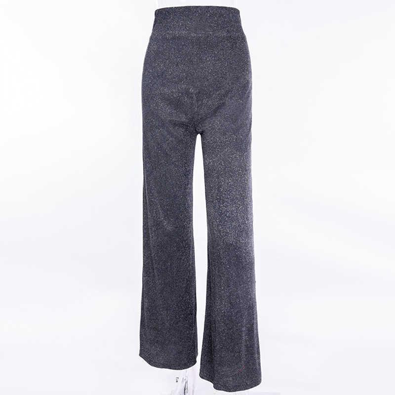 64f1521143 Bigsweety New 2019 Silver Glitter High Waist Wide Leg Pants Women Stylish  Shiny Pants Sexy Zipper Long Trousers Club Wear Mujer
