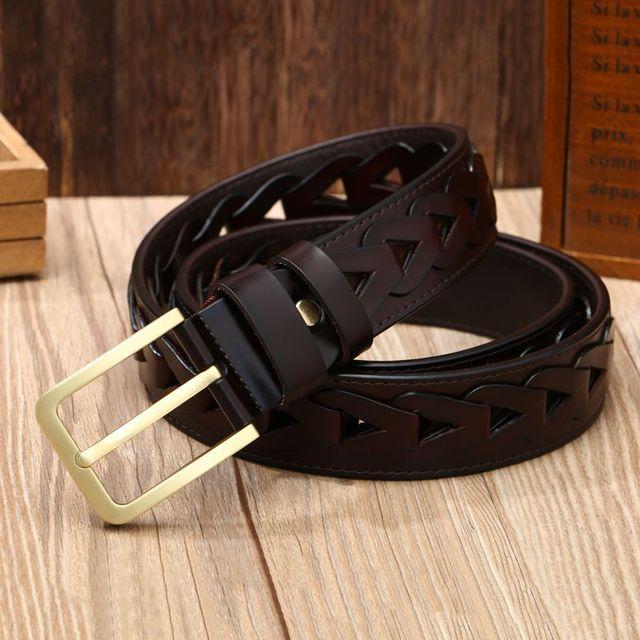 c733f93e851 2018 fashion handmade belts luxury men braided girdle women jeans genuine  leather belt male designer strap coffee 120 cm-in Men s Belts from Apparel  ...