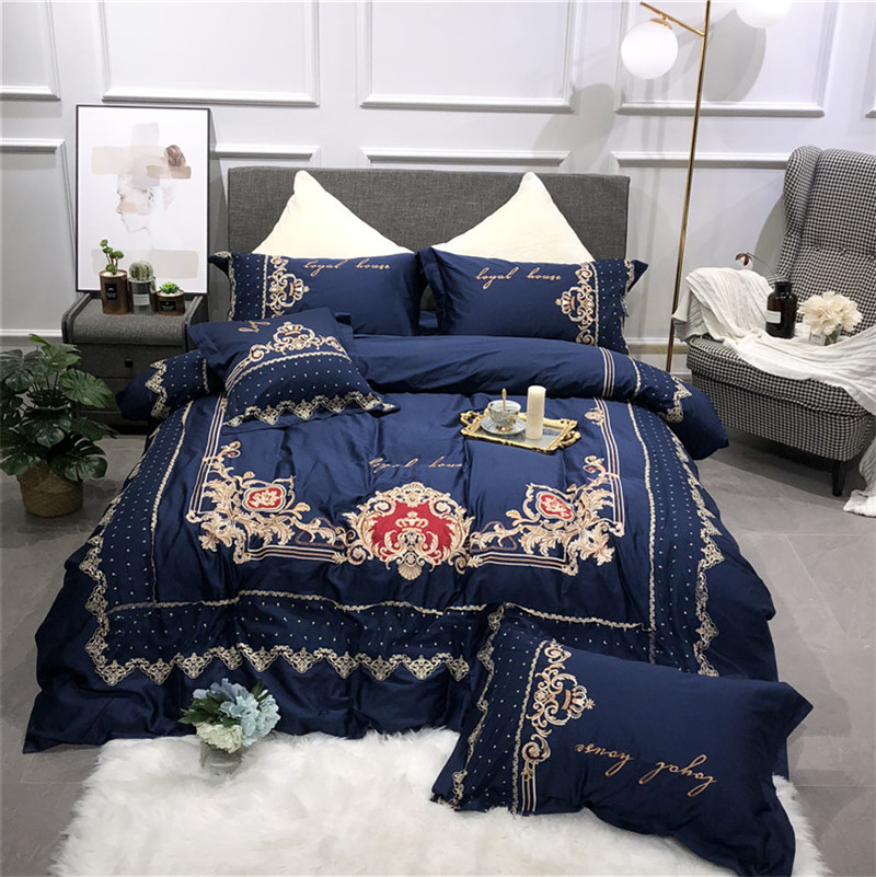 New Blue Pink Luxury Royal Embroidery 60S Egyptian Cotton Palace Bedding Set Duvet Cover Bed Sheet Bed Linen Pillowcases 4pcs