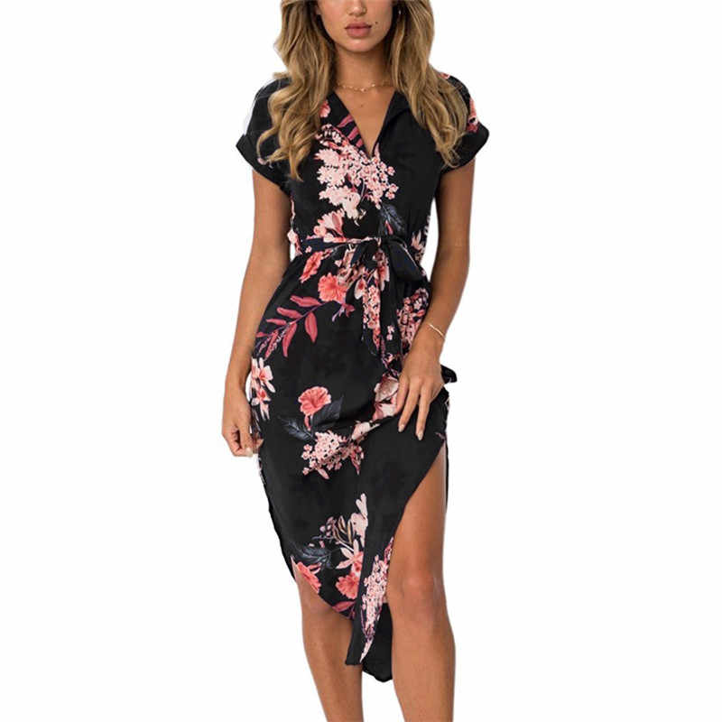 Women Floral Print Beach Dress Fashion Boho Summer Dresses Ladies Vintage Bandage Bodycon Party Dress Vestidos Plus Size S-3XL