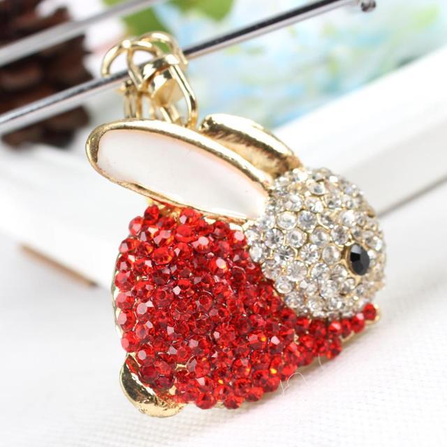 Coelho vermelho Chaveiro Criativo Lovely Fashion Charme Rhinestone Pendente de Cristal Bolsa Bag Chave Cadeia Amigo Presente Da Menina