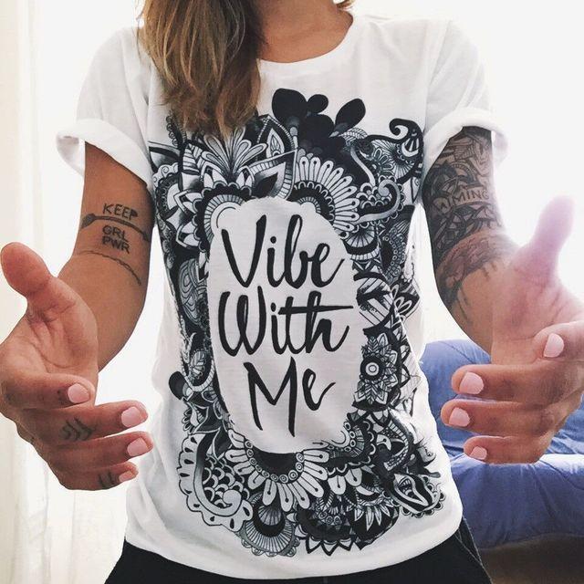 Camiseta mulheres verão europeu 2016 vibe comigo imprimir punk rock fashion graphic tees mulheres designer clothing