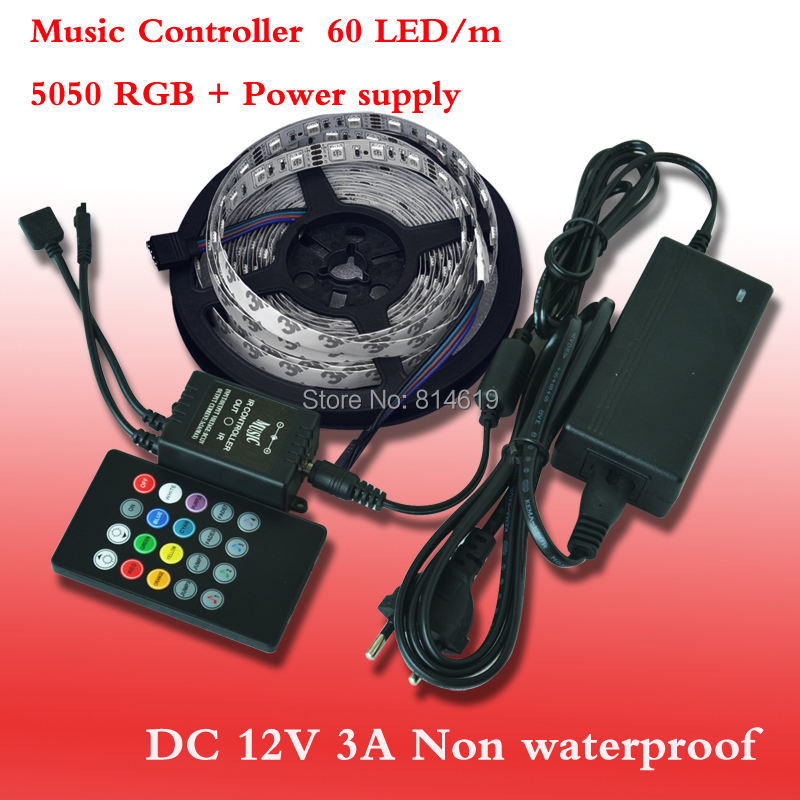 RGB Led Strip 5050 SMD 60LED/M 5M 300Led Non-waterproof 12V 3A Power Supply 20Keys IR music Remote Controller free shipping rgb led strip smd 5050 rgb 5m diode tape with 20 keys music ir remote controller 12v 3a power adapter flexible decoration light