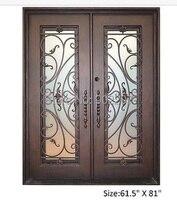 Design personnalisé porte d'entrée en fer forgé fabricant modèle hench-ied9