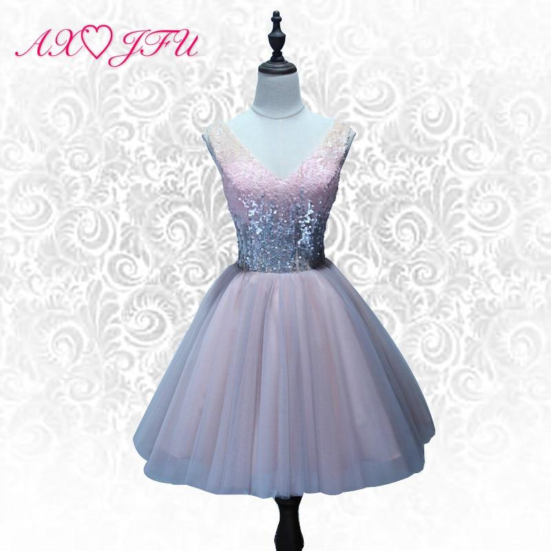 AXJFU розовое кружевное вечернее платье блестящие с v-образным вырезом короткие вечернее платье принцессы Винтаж Сияющий на шнуровке коротки...