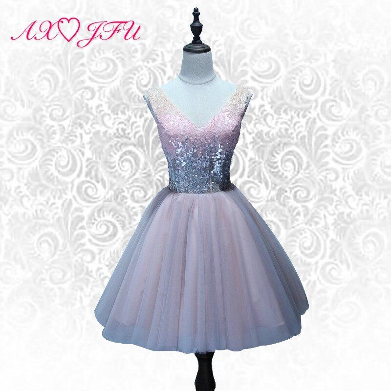 AXJFU pink lace   evening     dress   sparkly v neck short   evening     dress   princess vintage shining lace up short   evening     dress