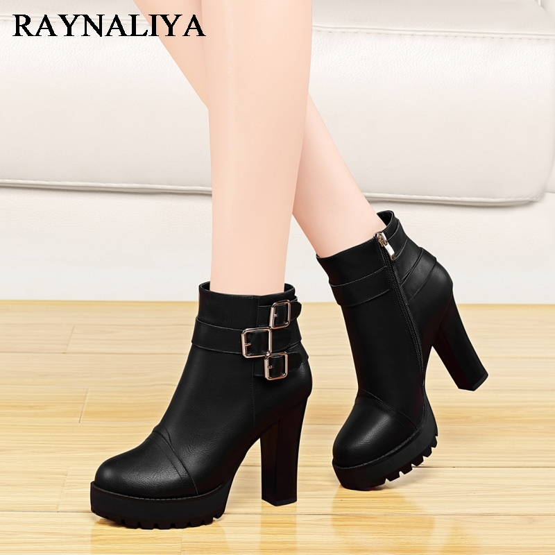 Women Mid Calf Boots Fashion Platform Zipper Warm Winter Sewing Thick High Heels For Ladies Solid Boot Female Shoes YG-A0027 double buckle cross straps mid calf boots