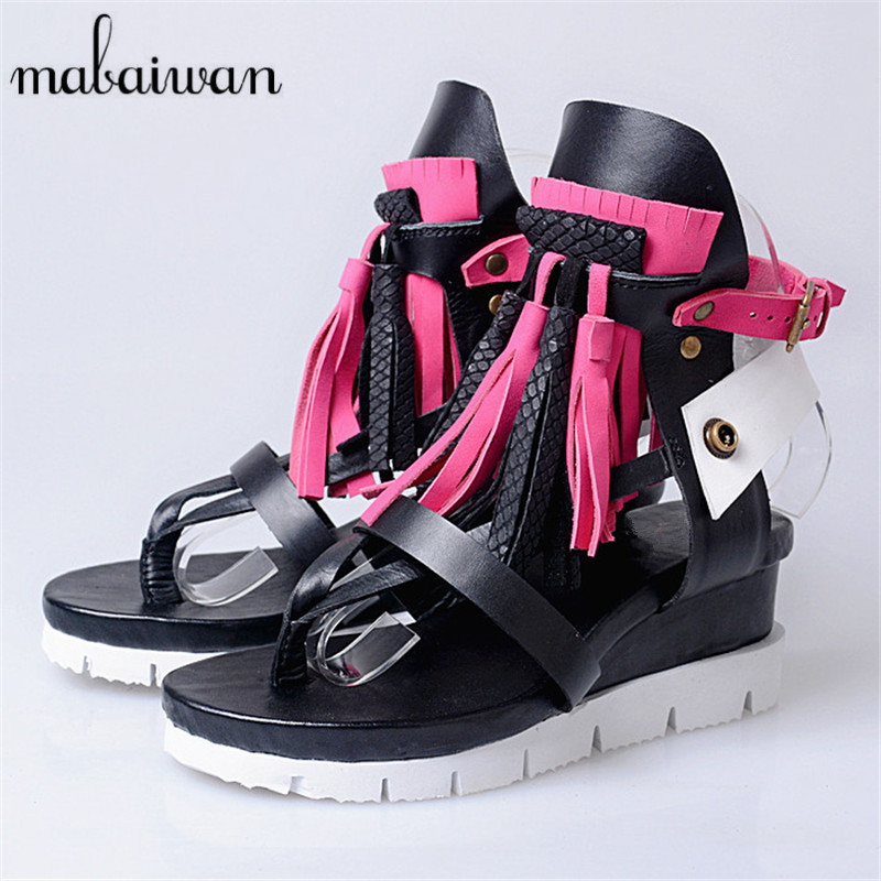 Mabaiwan Bohemia Women Genuine Leather Summer Sandals Casual Platform Wedge Shoes Woman Fringed Gladiator Sandal Wedges rhinestone silver women sandals low heel summer shoes casual platform shiny gladiator sandal fashion casual sapato femimino hot