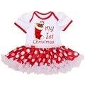 Meu primeiro Natal Fantasias para Crianças dos miúdos Roupas Bebê Recém-nascido Macacão Vestido Macacão Macacão Infantil-Roupas Da Menina Do Natal