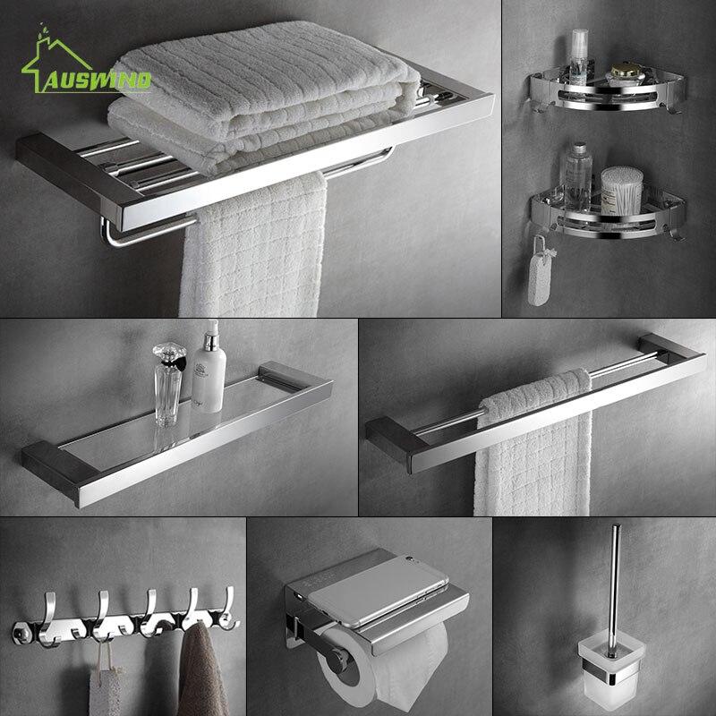 Wall Mounted Towel Rack 304 Stainless Steel Bathroom Accessories Set Bathroom Hardware Toilet Shelf Set Bathroom Towel Holder