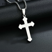 Eleple Religion Exquisite Jewelry Fashion Stainless Steel Cross Pendant Necklaces for Men or Women Birthday Gifts S-N425