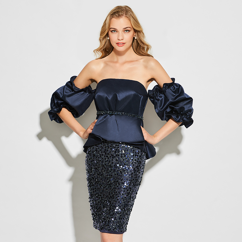 Tanpell sheath short   cocktail     dress   dark navy strapless above knee gown lady puff sleeves party formal customed   cocktail     dresses