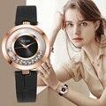 GUOU Uhr Frauen Uhren Top Marke Luxus Diamant frauen Uhren Mode Leder Damen Uhr reloj mujer zegarek damski-in Damenuhren aus Uhren bei