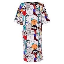 2017 Для женщин летние Повседневное из хлопка с принтом Длинные футболки платье свободный халат Макси Вечерние платья Вечеринка пляжные DressPlus Размеры