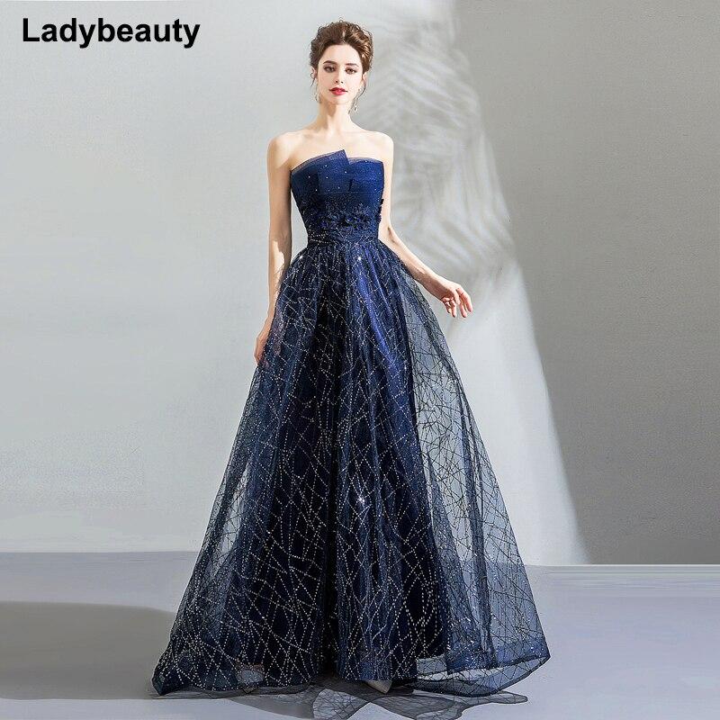 Ladybeauty élégant bleu marine Robe de soirée robes de soirée broderie Appliques 2018 bretelles robes de bal longue Robe de soirée