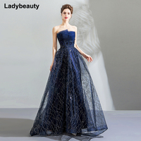 Ladybeauty Elegant Navy Blue Ball Gown Evening Dresses Embroidery Appliques 2018 Strapless Prom Party Gowns Long Robe de Soiree