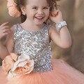 Coral Tulle Bola Vestidos Meninas Pageant Vestidos Floristas Vestidos Para O Casamento Primeira Comunhão Vestidos de Paetês Bonito Novo