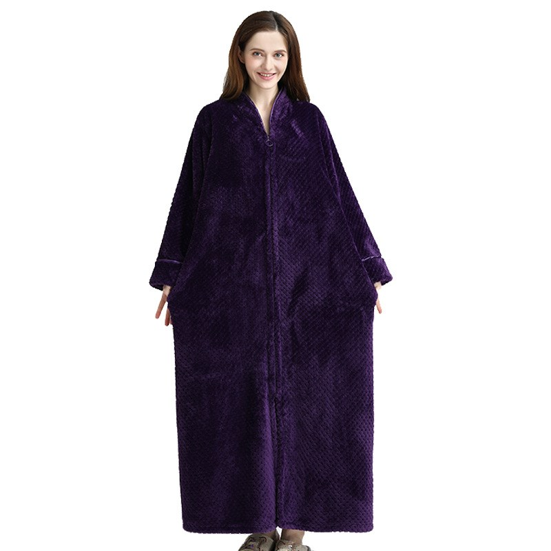 Extra Long Winter Warm Coral Fleece Bathrobe Women Men Flannel Kimono Bath Robe Plus Size Dressing Gown