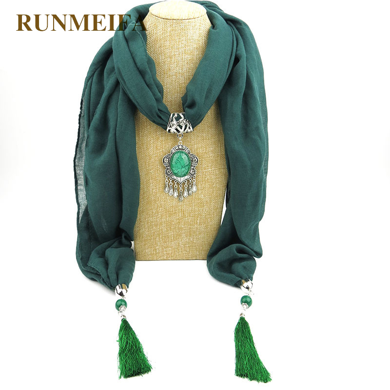 RUNMEIFA Women Muslin Scarves Jewelry Tassels Scarf Necklace Pendant Neckerchief Women Muffler Lady Polyester Cotton Scarf Shawl