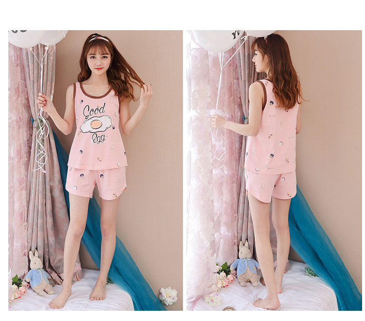 Cute Pajamas Women 2 Pieces Set Tank Top + Shorts Elastic Waist Good Eggs Print Cotton Lounge Sleepwear pyjamas S85303