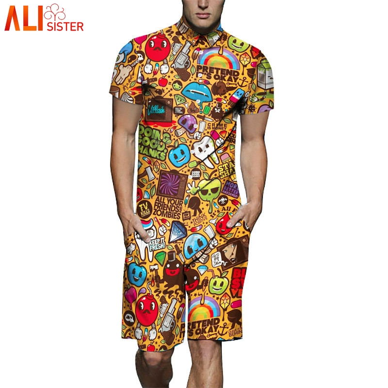 Alisister Mens Romper 3d Print Fashion Short Sleeve Casual Cargo Pants Jumpsuit Siamese Loose Trousers Playsuit Casual Jumpsuits