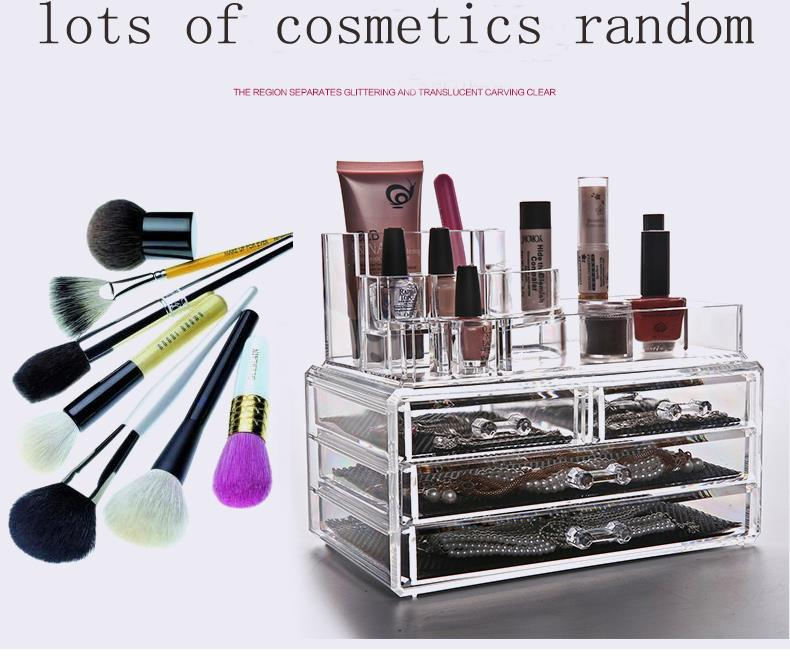 cosmetic organiser lipstick holder case make up transparent acrylic storage box drawers cosmetic box makeup kit ...