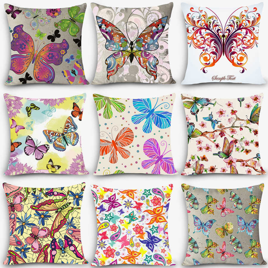 New Cheap Cushions Colorful Butterfly Print Home Decorative