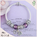 Fashion  Purple Love Heart  Silver Charms Series  European 925 Real Silver Charm Bracelet For Mother or Girls or Friend